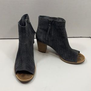 Toms suede perforated peep toe boots